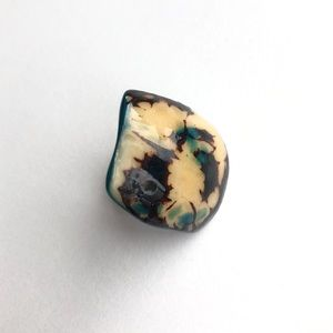 Hand carved Tagua Seed blue ring